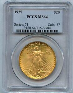 1925 $20 Twenty Dollar Saint Gaudens Double Eagle Gold Coin PCGS MS 64