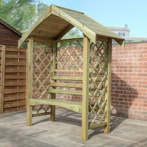 ARCHED GARDEN ARBOUR SEATING PLANT TRELLIS PRESSURE TREATED WOODEN OUTDOOR BENCH