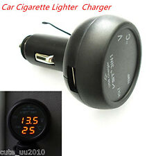 Car USB Charger Adapter Digital LED Voltmeter Thermometer Temperature Tester
