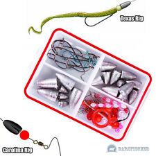 TEXAS RIGS & CAROLINA RIG SET, WORMSINKERDOSE MIT OFFSET HAKEN, BULLET DROP SHOT