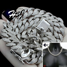 """20""""MEN 925 STERLING SILVER 12MM ICY DIAMOND MIAMI CUBAN CURB CHAIN NECKLACE*SN12"""