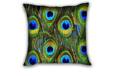 Peacock Feather Sofa Bed Home Decorative Cushion Cover Throw Pillow Case Square