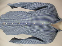 Peter Millar Mens Blue Check Long Sleeve Cotton Shirt M