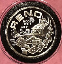 Reno Nevada Biggest Little City In World 1 Troy Oz .999 Fine Silver Round Coin