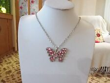 pink crystals and gift box Brand new silver butterfly necklace with