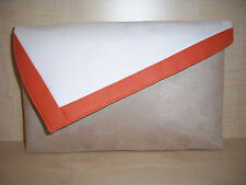 OVER SIZED ORANGE, BEIGE & WHITE  asymmetrical clutch bag, fully lined BN