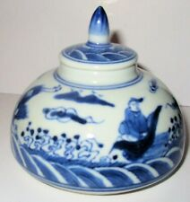 New listing Antique Chinese Blue and White Porcelain Ink Brush Pot with Lid, No Markings