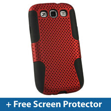Silicone Skin & Red PC Mesh Case for Samsung Galaxy S3 III i9300 Android Cover