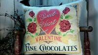 VINTAGE RETRO MODERN STYLE VALENTINE CANDY SWEET HEART ROSES CHOCOLATE PILLOW