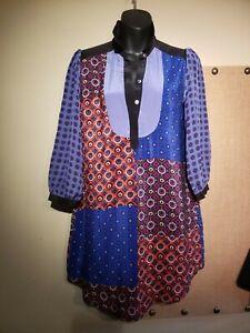 Details about  /Anthropologie Size Large Moulinette Soeurs 100/% Silk Patchwork Shirt Dress Blue