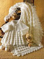 "Baby Shawl Matinee Coat Shoes Knitting Pattern 14-18"" Dk & 4ply 324"