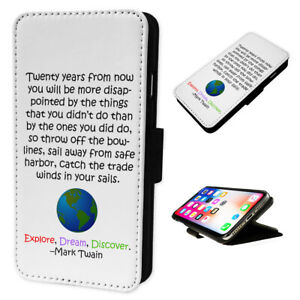 Mark Twain World Quote - Flip Phone Case Wallet Cover Fits Iphone & Samsung