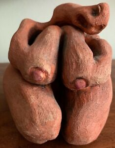 Biomorphic Abstract Nude Naked Woman Clay Sculpture Modern Art Signed Barken