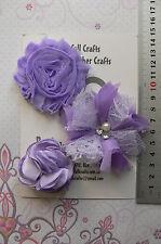 LAVENDER Flower Mix Fabric Organza Lace 3 Flower Pk 45-80mm Njoyfull Crafts C1