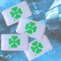 4 Leaf Clover x4 3D Car Stickers Lucky Leaf Logo Ireland Shamrock Steering Wheel
