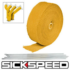 "YELLOW TURBO MANIFOLD HEAT EXHAUST THERMAL WRAP TAPE & STAINLESS TIES 2""X25' Z3"