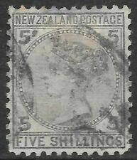 NEW ZEALAND 1874 5s grey, used. SG 186. Cat.£300.