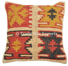 Indian Vintage Kilim Cushion Cover 18x18 Handwoven Jute Rug Square Pillow Case