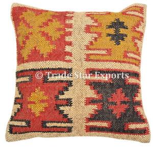 Indian Vintage Kilim Cushion Cover 18x18 Handwoven Jute Rug Square Pillow Case