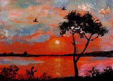 dipinto marina mare tramonto paesaggio sunset paint acrilico moderno design