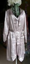 Elegant Pure Silk Satin Dressing Gown, Warm Grey