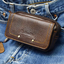 New Mens Genuine Leather Pocket Belt Loops Waist Bag Pouch Wallets Purse-6852