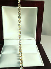 new bracelet Vintage Gold Tone Setting Clear Rhinestone Tennis Style Bracelet 7