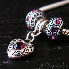 Amethyst Purple February Birthstone Charm Beads For European Charm Bracelets