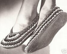 Vintage Crochet PATTERN to make Ballet Style Stripe Slippers Soft Shoes StripeBa
