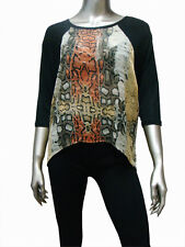 Snakeskin Print Contrast Round Neck Size M High Low Womens Top Dress New
