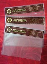 3 PLASTIC CERTIFICATE OF AUTHENTICITY SLEEVES FOR GOLD BANKNOTES mint unc
