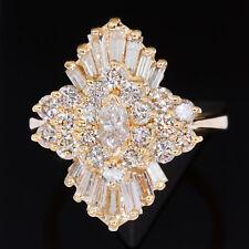 2-1/4 carat tw Diamond Ring 14K Yellow Gold Right Hand Ballerina Cocktail ct