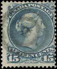 Canada #30b used F 1868 Queen Victoria 15c blue grey Large Queen CV$40.00
