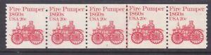 US 1908 20¢ Fire Pumper PNC Strip of 5 Plate #2