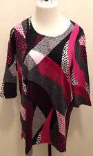 ULLA POPKEN Dot Waves Knit Tunic Top Pink Black White  XL 12 14 3/4 Sleeve