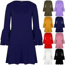 Womens Ladies Double Frill Bell Frill Sleeve Hem Bodycon Shift Swing Mini Dress