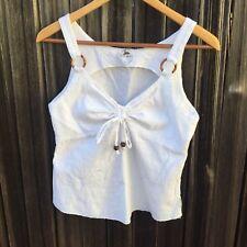 Designer Blanc Du Nil White Cotton Summer Beach Cruise Sleeveless Top Tank Top