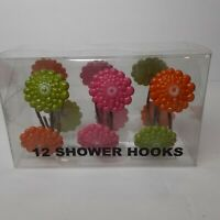 12 Allure Green Pink Orange Flower Resin Shower Curtain Hooks NIB