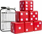 Lawn Dice with Scoreboard - Giant Red Wooden Yard Dice Outdoor Game Carrying Cas