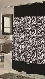 Shower curtain animal print faux fur fabric savana  Liner included