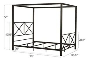 Rosedale metal 4 poster canopy bed with crisscross headboard and footboard