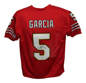 Jeff Garcia Autographed/Signed Pro Style Red XL Jersey BAS 29506