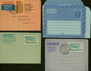 India - Aerogramme. Lot of 4 Air Letter to Singapore.........(VG) MV-9735