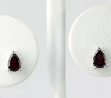 Sterling Silver Faceted Pear Shaped Garnet Stud Earrings 1 CT. T.W.