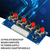 24 Pins ATX Benchtop Board Computer PC Power Supply Breakout Adapter Module Blue