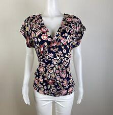 Soho New York & Company Women Size L Multicolor blue short Blouse Top Shirt