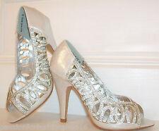 Tamaño 2.5 3 4 5 6 7 8 Blanco Marfil Plateado Brillo Diamante Zapatos De Novia Ocasión