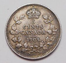1905 Five Cents Silver EF HIGH Grade BETTER Date King Edward VII TONED Canada 5¢