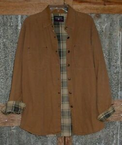 Coleman Outdoors Canvas Shirt Snap Front Flannel Lined Work Shirt Jacket Sz L