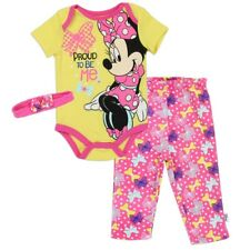 Minnie Mouse Girls New Born 0-3 Months Creeper Pants Headband Set